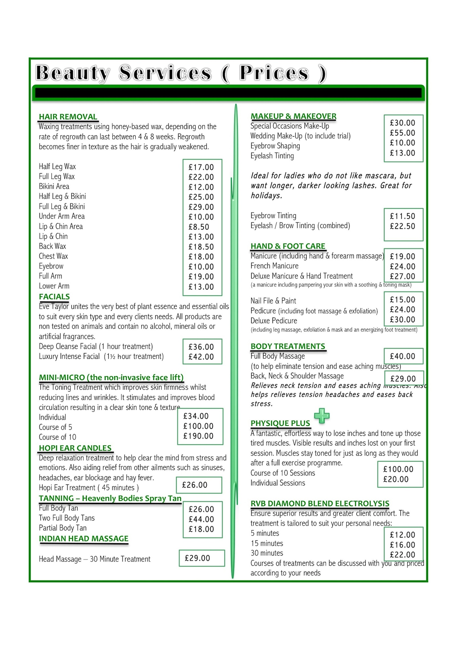 Unusual Salon Price List Template Images - Entry Level Resume ...