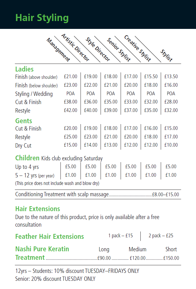Hair Styling Prices Inspire Hair Salon